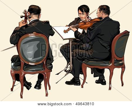 Three musicians of classic orchestra - violin and double bass - vector illustration