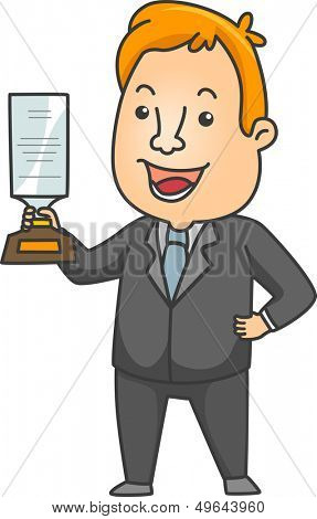 Illustration of a Man in a Business Suit Proudly Holding a Plaque