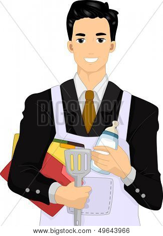 Illustration of a Man Dressed in a Suit Wearing an Apron and Preparing to Do Some Housework