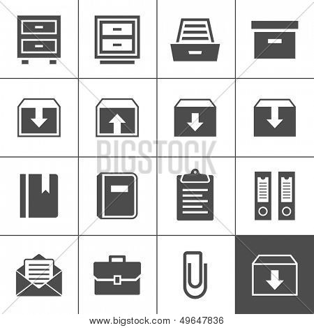 Archive icon set. Simplus series. Each icon is a single object (ideal for web and app icons)