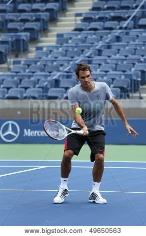 Seventeen times Grand Slam champion Roger Federer practices for US Open 2013