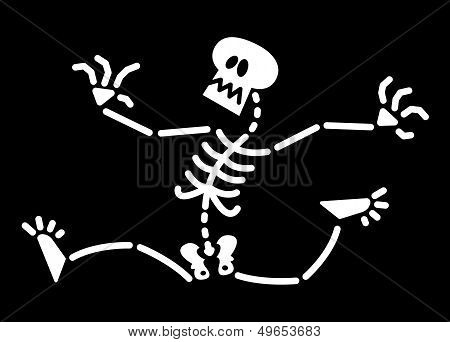 Scared Halloween skeleton running away
