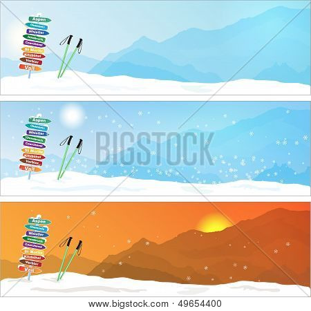 Set of Ski trip Banners