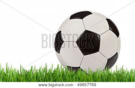 Soccer Ball In The Grass Isolated On White Background