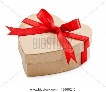 Cardboard Box With Heart-shaped Red Ribbon Tied Round With A Bow Isolated On A White Background