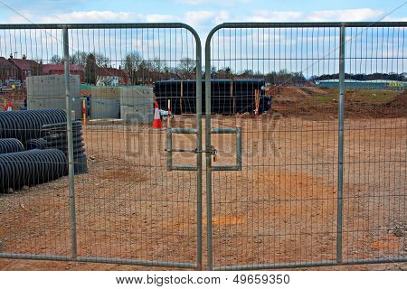Locked Gates On Construction Site
