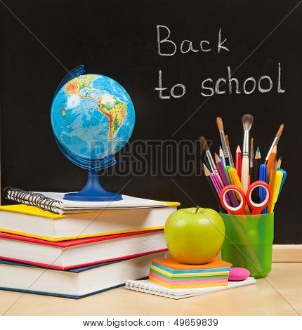 Back To School. School Board And Books And Apple