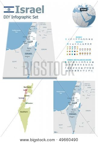 Israel maps with markers