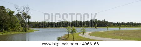 Panorama Of Chain Of Lakes Park In Florida