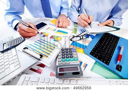 Hand with calculator. Finance and accounting business.