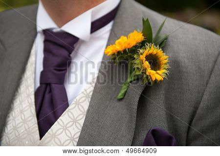 Groom With Sunflower Buttonhole