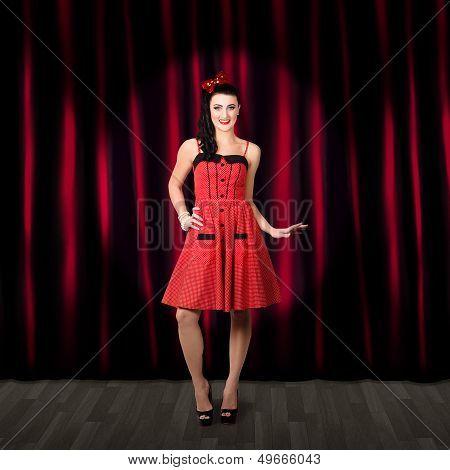 Dancing Woman Wearing Retro Rockabilly Dress