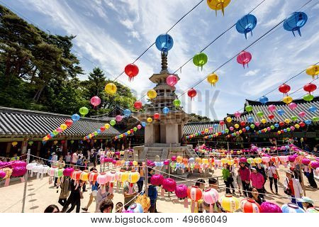 GYEONGIU kOREA MAY 17: People are visiting the Bulguksa Temple where hanging lanterns for celebrating the Buddhas birthday on May 17 2013 in Gyeongiu, Korea.