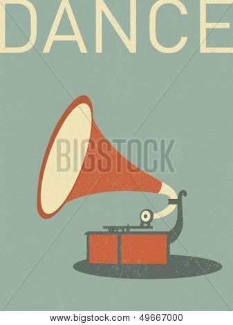 vector retro gramophone illustration