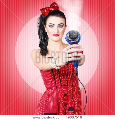 Young Beautiful Girl With Hairdryer. Hair Care