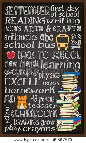 Back to School Chalkboard Typography Poster, with stack of books, kitten, teacher's apple and school bus, subway art style