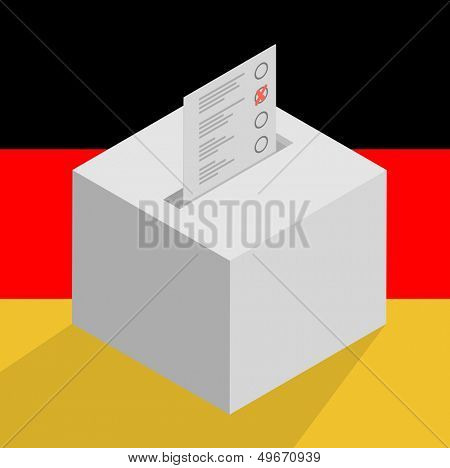 minimalistic illustration of a white ballot box on a german flag background, symbol for voting and politics