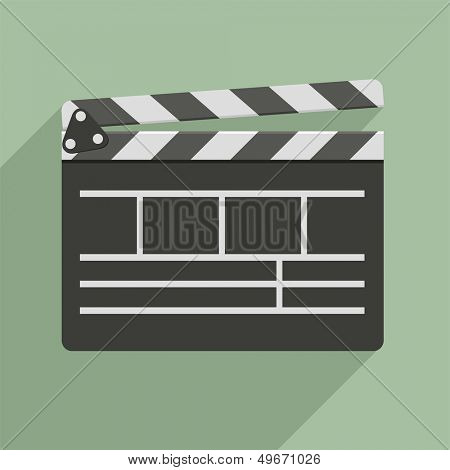 minimalistic illustration of a clapper board, symbol for film and video