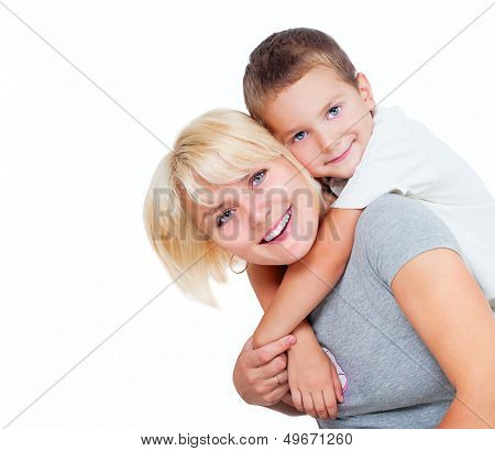 Happy Mother with Son. Smiling Mom and Child isolated on a White Background. Family