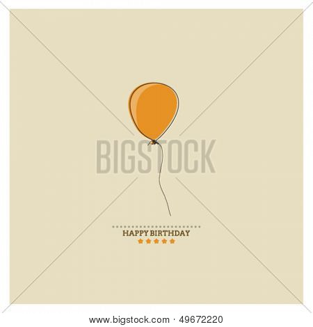 Happy Birthday card with holiday orange balloon