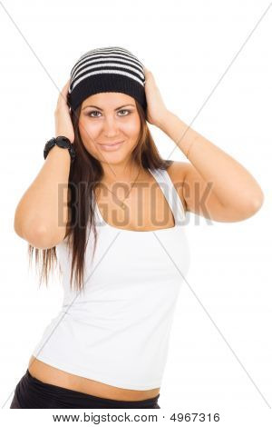 Young Woman Holding Head With Hands