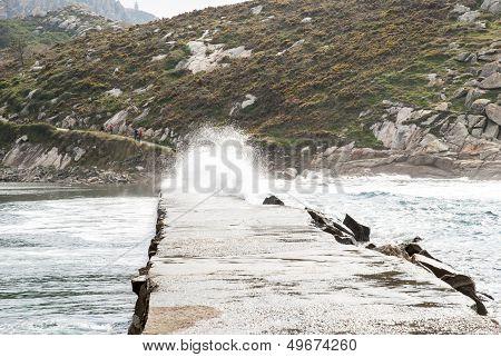 Waves Over Path At Cies Island Natural Park, Galicia