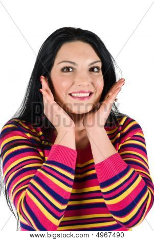 Smiling Surprised Woman