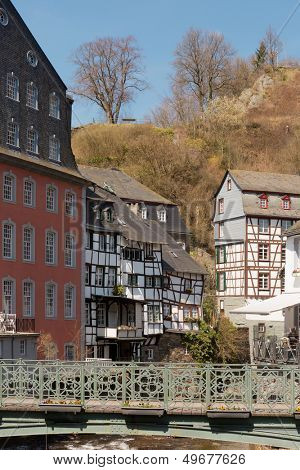 View on Monchau village center in the Eifel region of Germany