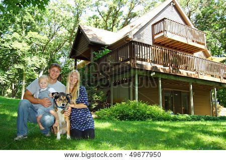 Family At Cabin in Woods