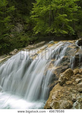 Waterfall On Mountain River;