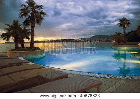 Hotel Pool On Sunset Near Split