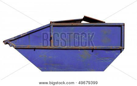 Side view of rusty blue skip isolated on white background.