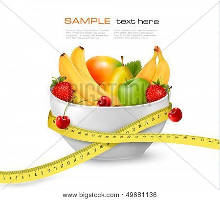 Diet meal. Fruit in a bowl with measuring tape. Concept of diet. Vector illustration