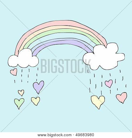 Rainy Rainbow Heart