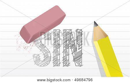 Erase All Sins Illustration Design Over A Notepad