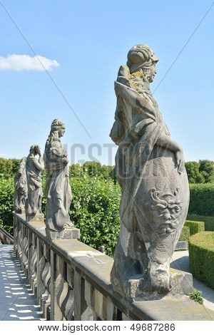 Statues On Top Of The Grand Cascade In The Herrenhausen Gardens