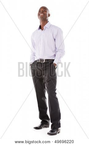 Thoughtful casual business man - isolated over a white background