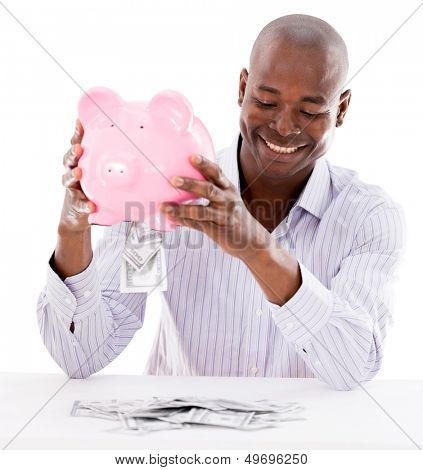 Business man taking money from his savings - isolated over white