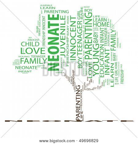 High resolution concept or conceptual green tree neonate word cloud on white background wordcloud