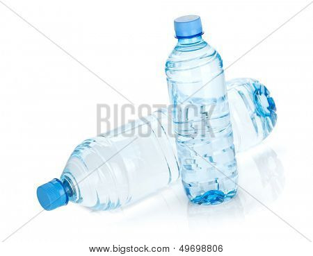 Two water bottles. Isolated on white background