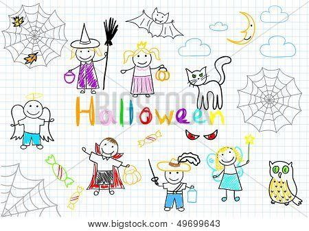 Halloween. Vector sketches happy children's. Sketch on notebook page