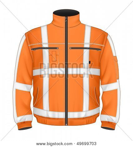 Photo-realistic vector illustration. Men's reflective safety jacket orange (front view). Illustration contains gradient mesh.