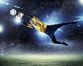 image of football pitch  - Goalkeeper catches the ball  - JPG