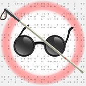 picture of braille  - Art Illustration of white stick and glasses for visually impaired - JPG
