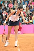 KHARKOV, UKRAINE - APRIL 21: Christina McHale, USA in the match with Lesia Tsurenko during Fed Cup t
