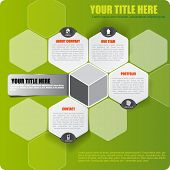 picture of hexagon pattern  - Abstract vector green infographic background with icons and place for text - JPG