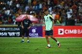 KUALA LUMPUR - AUGUST 9: FC Barcelona's Neymar Junior reacts during training at the Bukit Jalil Stad