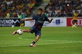 KUALA LUMPUR - AUGUST 10: FC Barcelona 's Neymar Jr. controls the ball during warm-up before the gam