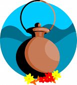 stock photo of shakti  - Illustration of pooja pot and flowers in blue background - JPG