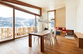 stock photo of chalet interior  - interior mountain house - JPG